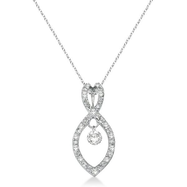Figure 8 Diamond Swirl Pendant Necklace 14k White Gold (0.25ct)