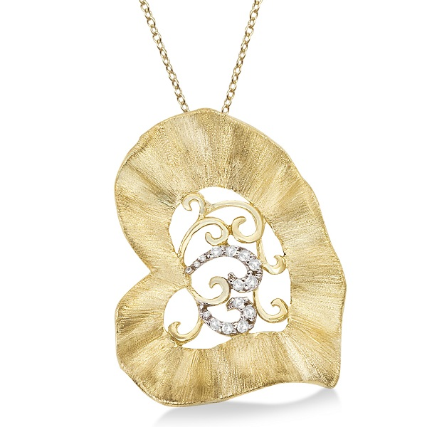 Diamond Accent Leaf Pendant Necklace Brushed 14k Yellow Gold (0.05ct)