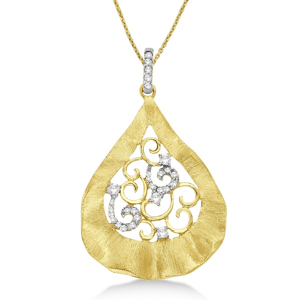 Diamond Pear Shaped Leaf Pendant Brushed 14k Yellow Gold (0.20ct)