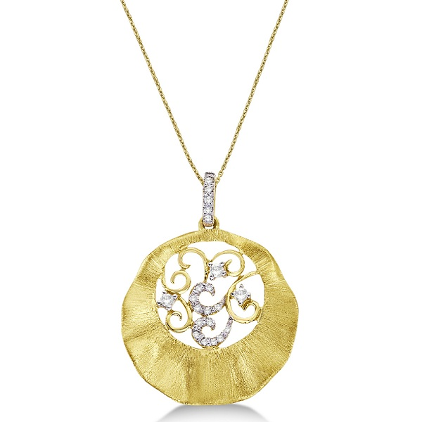 Diamond Circle Pendant Necklace in 14k Brushed Yellow Gold (0.15ct)
