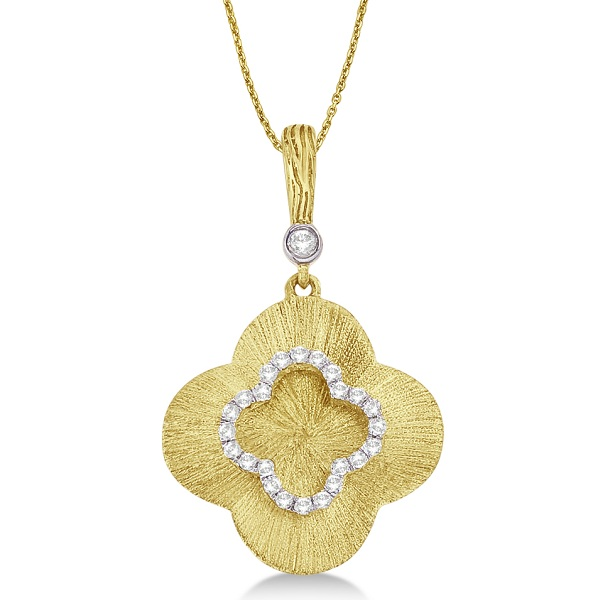 Diamond Clover Pendant Necklace in 14k Brushed Yellow Gold (0.15ct)