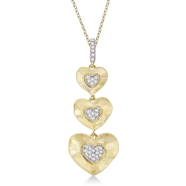 Diamond Triple Heart Pendant in 14kt Brushed Yellow Gold (0.10ct)