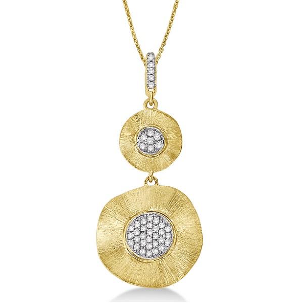 Double Circle Diamond Pendant 14k Brushed Yellow Gold (0.10ct)