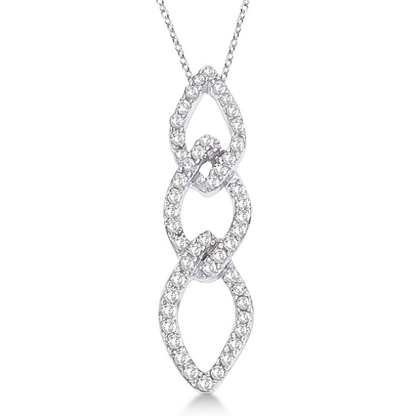 Triple Link Oval Diamond Pendant Necklace 14k White Gold (0.15ct)