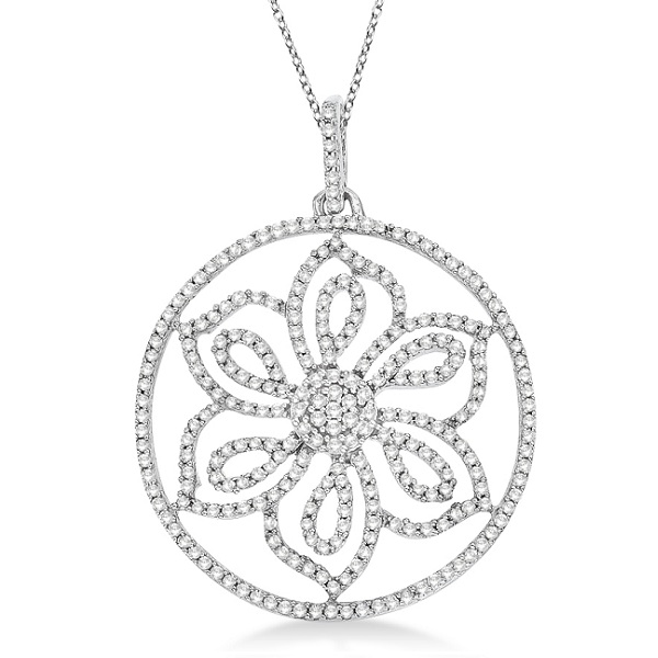 Diamond Circle Flower Pendant Necklace in 14k White Gold (0.50ct)