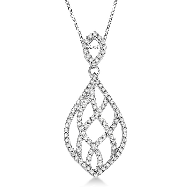 Diamond Teardrop Pendant Necklace 14k White Gold (0.30ct)