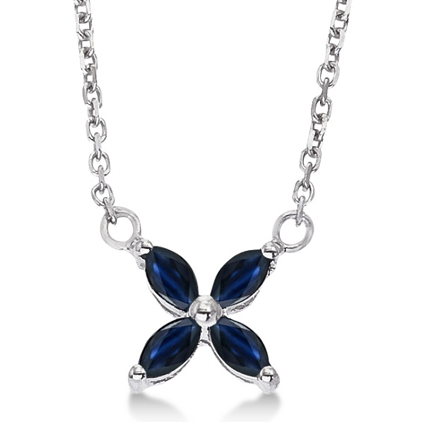 Marquise Blue Sapphire Flower Pendant Necklace 14k White Gold (0.20ct)