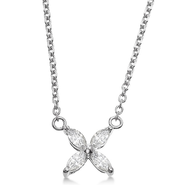 Marquise Cut Diamond Flower Pendant Necklace 14k White Gold (0.20ct)
