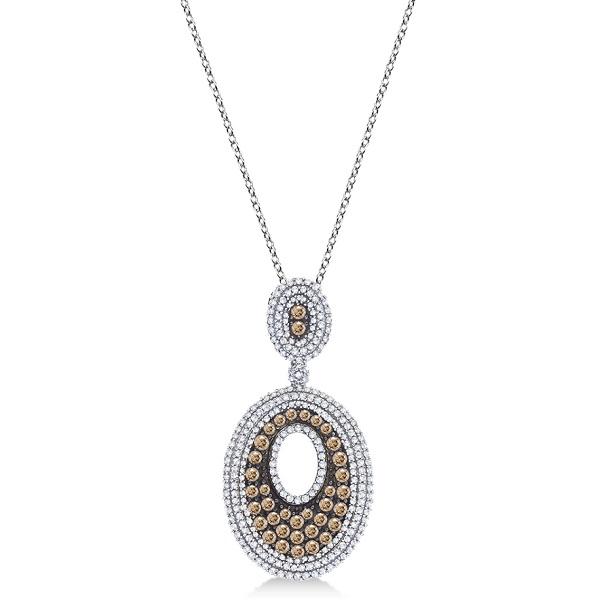 White & Chocolate Diamond Pendant Necklace 14kt White Gold (1.35ct)