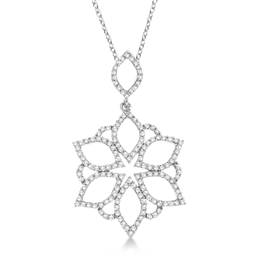 Flower Diamond Pendant Necklace 14k White Gold (0.55ct)