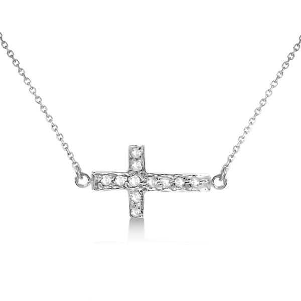 "Diamond Sideways Cross Necklace 16"" Rope Chain 14K White Gold (0.06ct)"