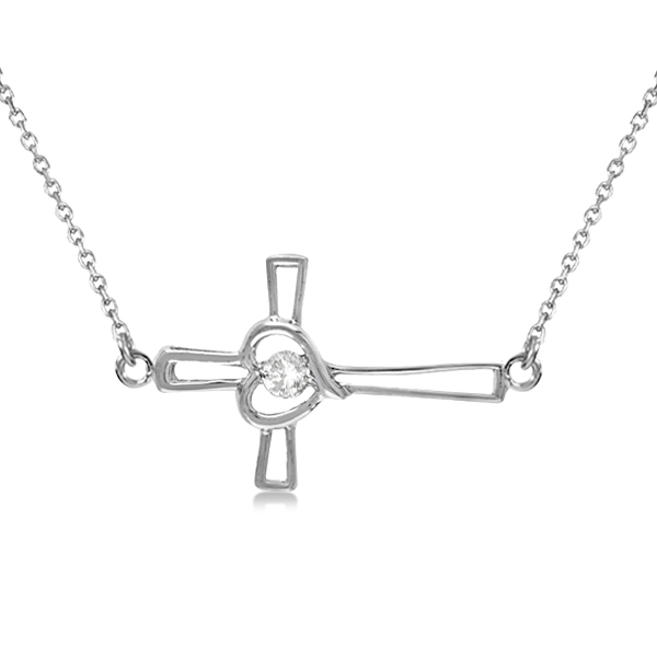 Open Heart Diamond Sideways Cross Necklace 14K White Gold (.01ct)