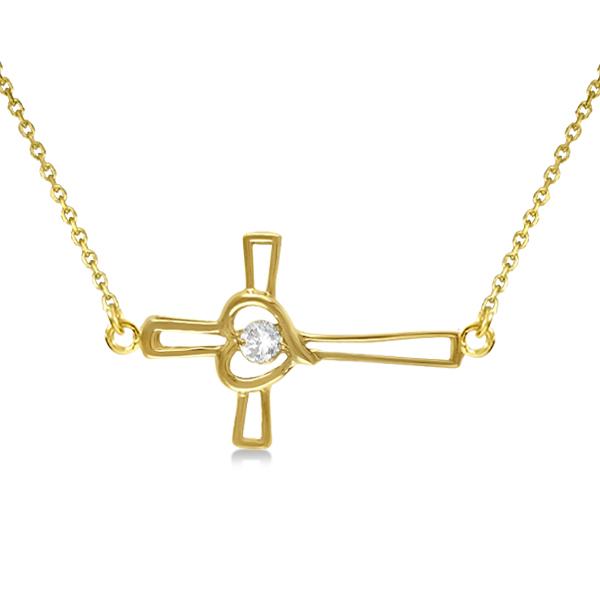 Open Heart Diamond Sideways Cross Necklace 14K Yellow Gold (0.01ct)