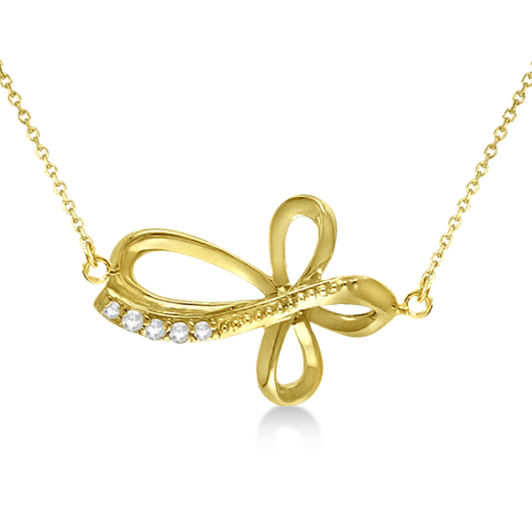 "Swirl Diamond Sideways Cross 16"" Rope Chain 14K Yellow Gold (0.05ct)"