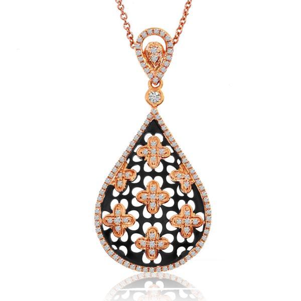 Floral Teardrop Diamond Pendant Necklace 14K Rose Gold 0.41ct