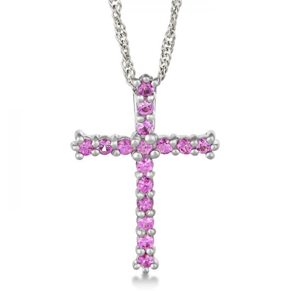 Pink Sapphire Cross Pendant Necklace Sterling Silver (0.80ct)