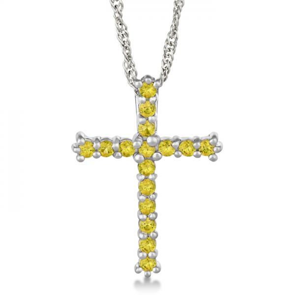 Yellow Sapphire Cross Pendant Necklace Sterling Silver (0.80ct)