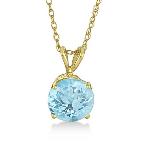 Antique Art Deco Aquamarine Pendant Necklace 14k Yellow Gold (1.25ct)