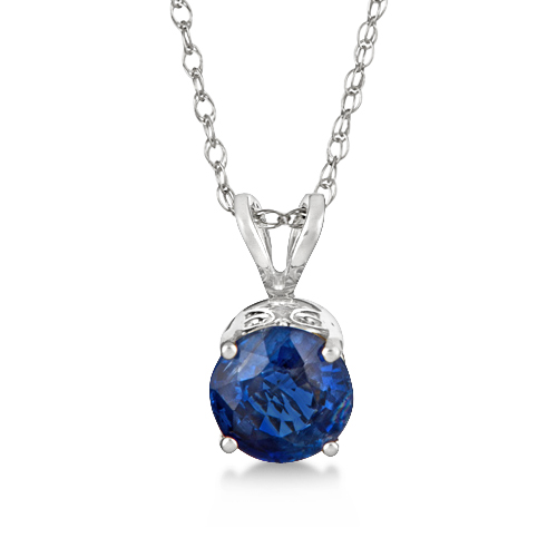 Round Bow Exotic Kyanite Pendant Necklace 14k White Gold (1.05ct)