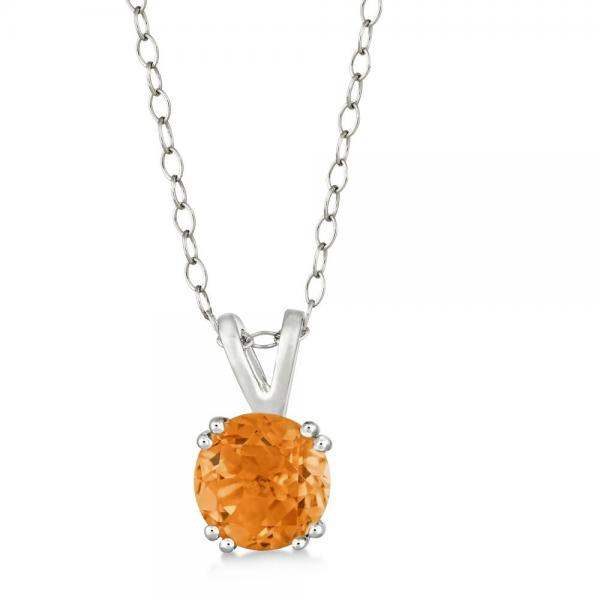 Round Citrine Solitaire Pendant Necklace Sterling Silver (1.30ct)