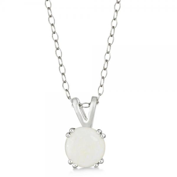 Round Opal Solitaire Pendant Necklace Sterling Silver (0.80ct)