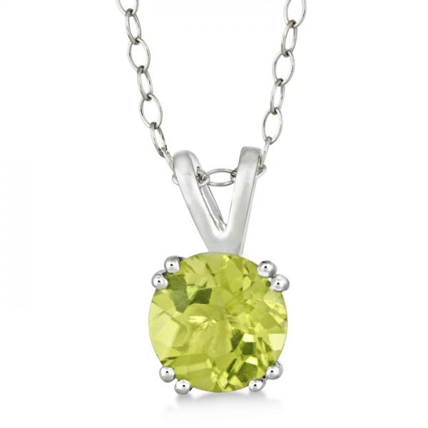 Round Peridot Solitaire Pendant Necklace Sterling Silver (1.25ct)