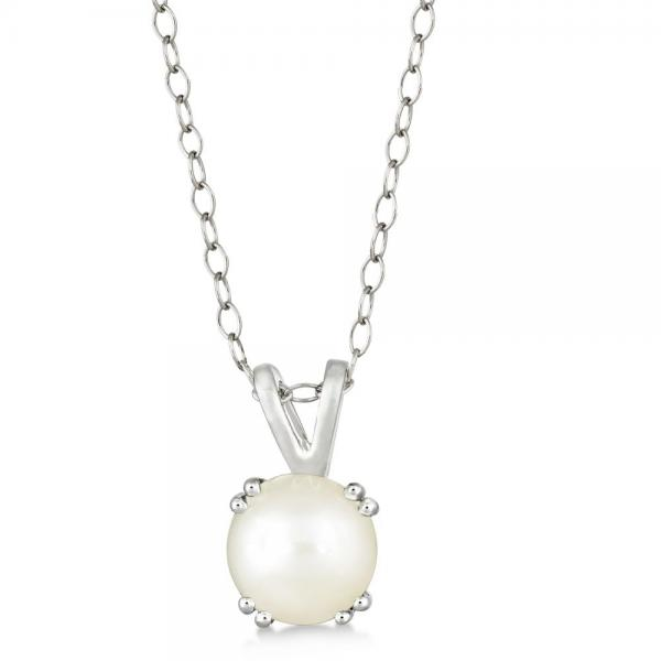 Round White Pearl Solitaire Pendant Necklace Sterling Silver (7mm)
