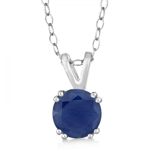Round Blue Sapphire Solitaire Pendant Necklace Sterling Silver (1.60ct)
