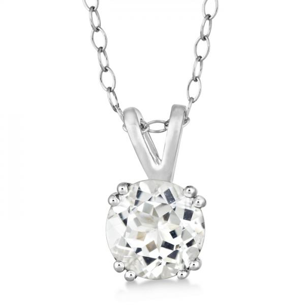Round White Topaz Solitaire Pendant Necklace Sterling Silver (1.50ct)