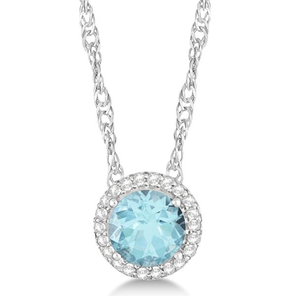 Ladies Swiss Blue Topaz & Diamond Halo Pendant Sterling Silver 1.80ctw