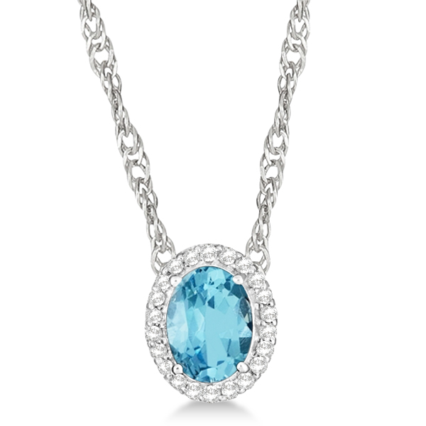 Oval Swiss Blue Topaz & Diamond Halo Necklace Sterling Silver 1.65ctw