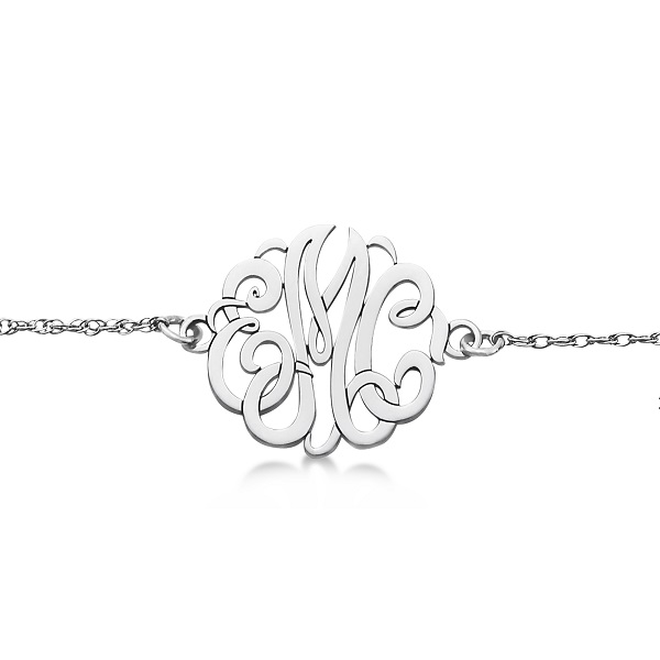 Personalized Initial Monogram Chain Bracelet in 14k White Gold