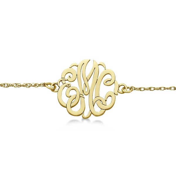 Personalized Initial Monogram Chain Bracelet in 14k Yellow Gold