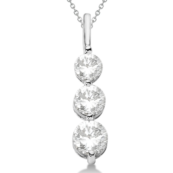 Three-Stone Graduated Diamond Pendant Necklace 14k White Gold (0.75ct)