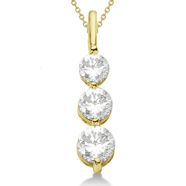 Three-Stone Graduated Diamond Pendant Necklace 14k Yellow Gold (0.75ct)