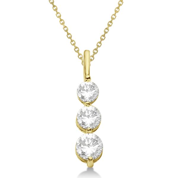 Three-Stone Graduated Diamond Pendant Necklace 14k Yellow Gold (0.75ct)