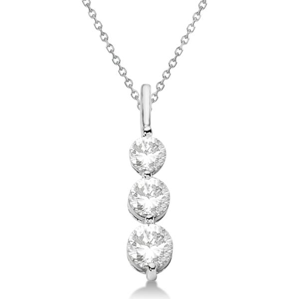 Three-Stone Graduated Diamond Pendant Necklace 14K White Gold (1.05ct)