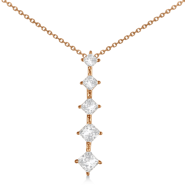 Princess Cut Five Stone Diamond Journey Necklace 14K Rose Gold 1.00ct