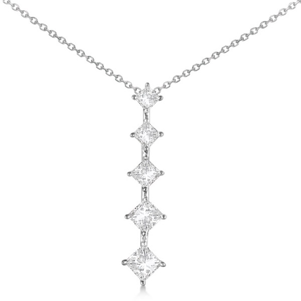 Princess Cut Five Stone Diamond Journey Necklace 14K White Gold 1.00ct