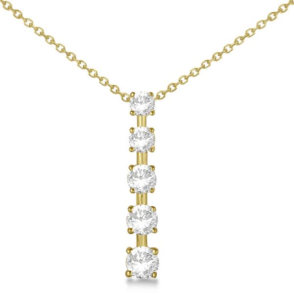 Diamond Journey Pendant with 5 Round Diamonds 14K Yellow Gold 0.75ct