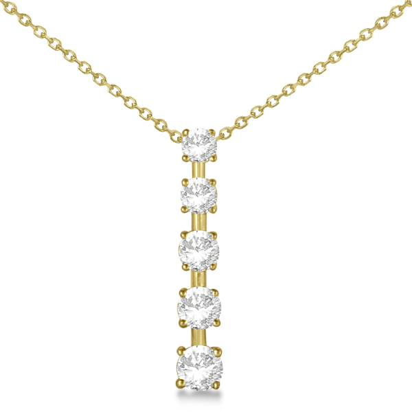 Diamond Journey Pendant with 5 Round Diamonds 14K Yellow Gold 1.25ct