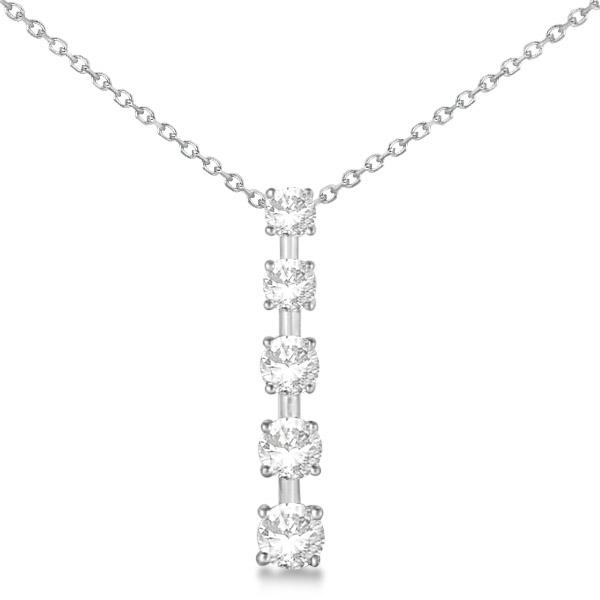 Diamond Journey Pendant with 5 Round Diamonds 14K White Gold 2.00ct