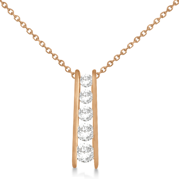 Channel Set Graduated Diamond Journey Necklace 14K Rose Gold 1.05ct