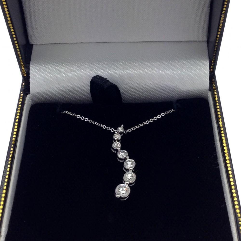 Curved Seven Stone Diamond Journey Pendant Necklace 14k W. Gold 1.00ct