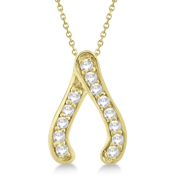 Diamond Wishbone Pendant Necklace 14k Yellow Gold (0.20ct)