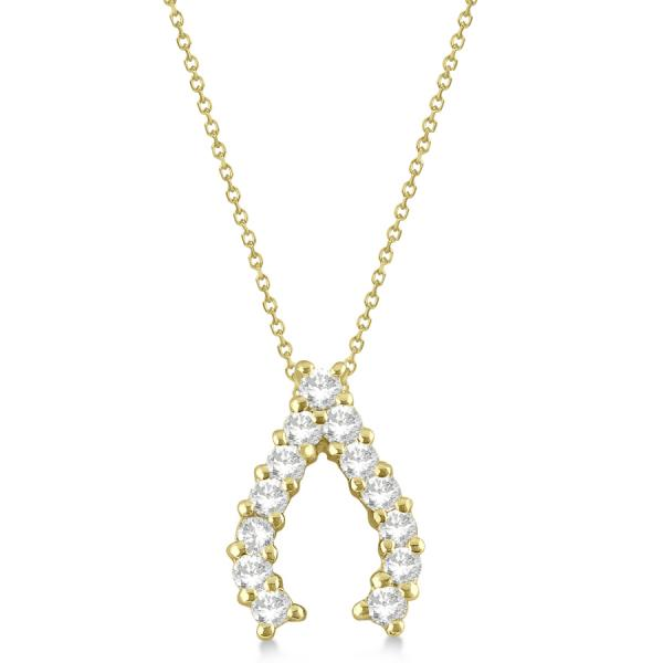 Diamond Wishbone Pendant Necklace for Women 14k Yellow Gold (0.30ct)