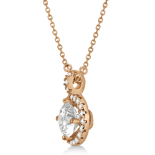 Diamond Halo Pendant Necklace Round Solitaire 14k Rose Gold (0.75ct)