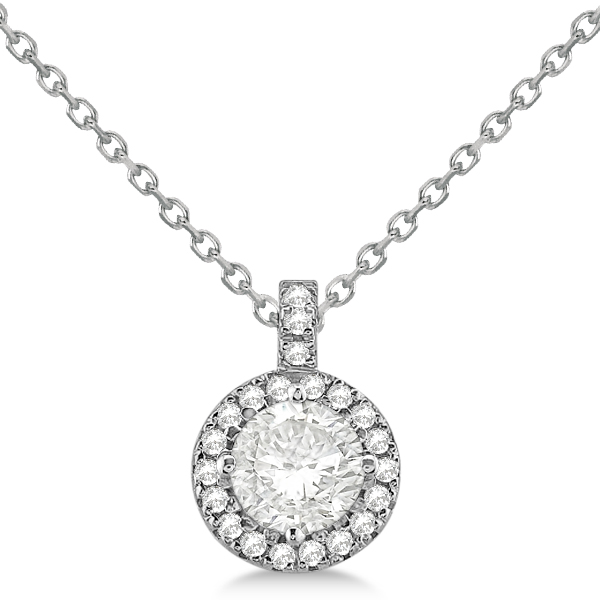 Diamond Halo Pendant Necklace Round Solitaire 14k White Gold (0.75ct)