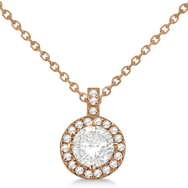 Diamond Halo Pendant Necklace Round Solitaire 14k Rose Gold (1.00ct)