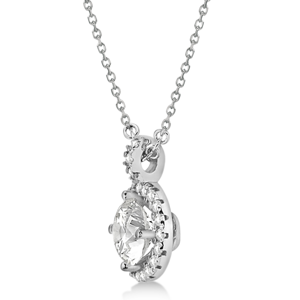Diamond Halo Pendant Necklace Round Solitaire 14k White Gold (1.00ct)